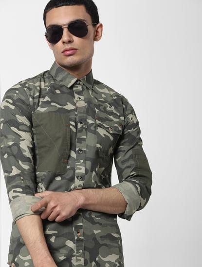 Green Camo Full Sleeves Shirt