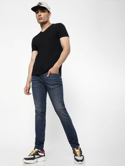 Blue Mid Rise Ben Skinny Fit Jeans