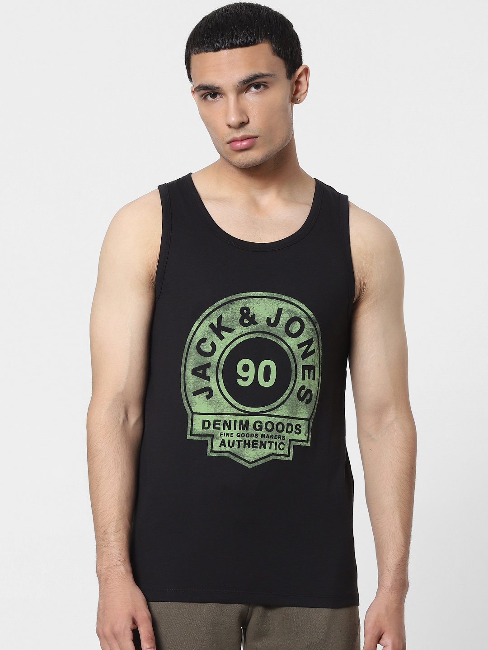 Black Logo Print Vest