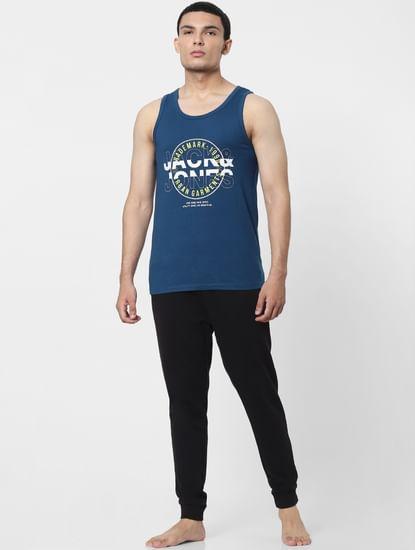Blue Logo Print Vest