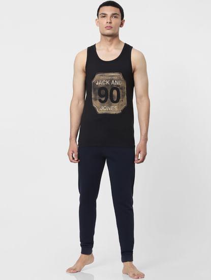 Black Graphic Print Vest