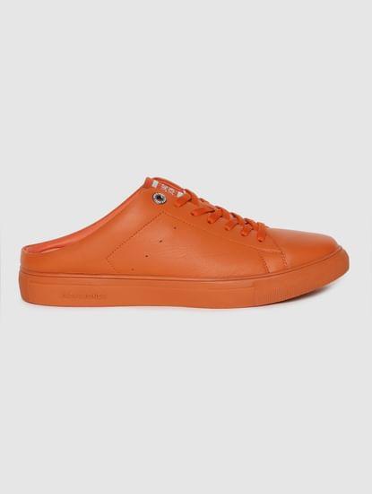 Orange Leather Mules