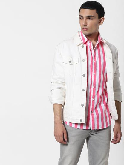 Pink Striped Short Sleeves Shirt