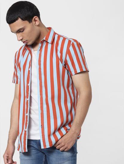 Orange Striped Short Sleeves Shirt