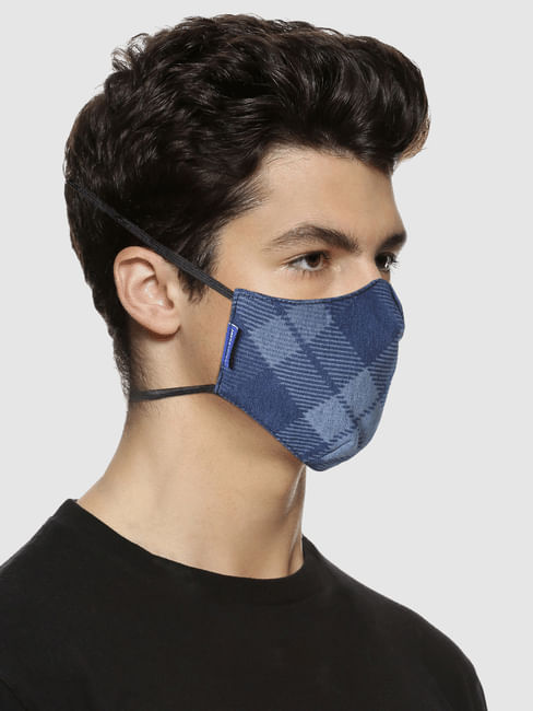 Blue 3PLY Around the Head Loops Mask - Check Print