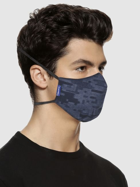 Blue 3PLY Around the Head Loops Mask-All Over Print