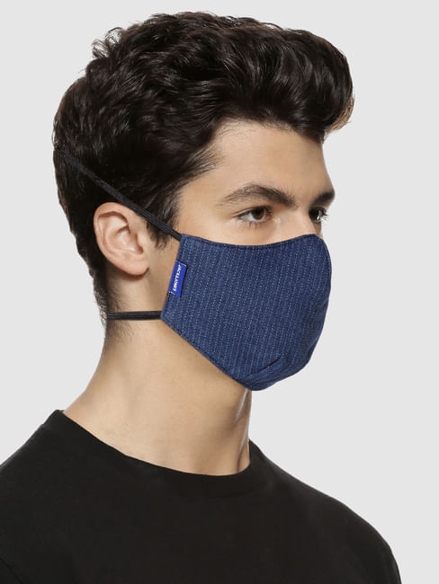 Blue Striped 3PLY Around the Head Loops Mask