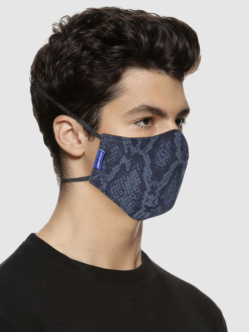 Blue 3PLY Around the Head Loops Mask - Animal Print