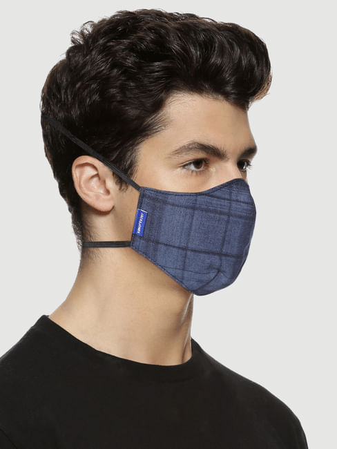 Blue Check 3PLY Around the Head Loops Mask