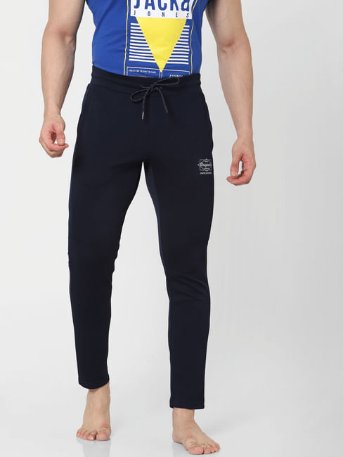 Blue Mid Rise Textured Trackpants