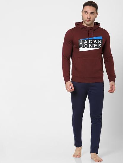 Burgundy Logo Print Hooded Sweatshirt