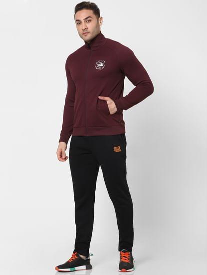 Maroon Turtleneck Zip Up Sweatshirt