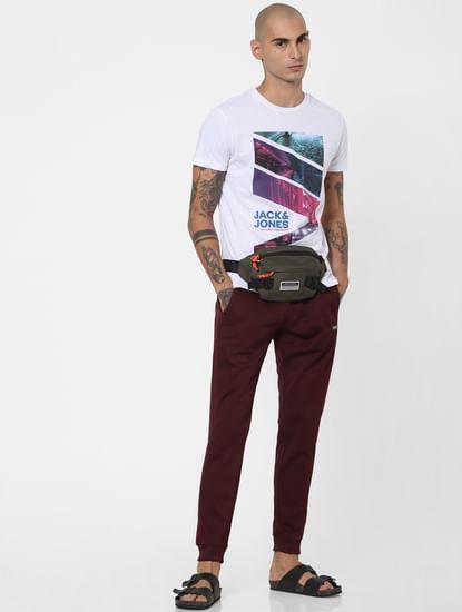 Burgundy Mid Rise Textured Sweatpants