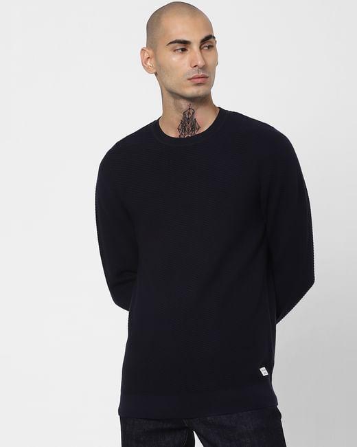 Navy Blue Textured Pullover