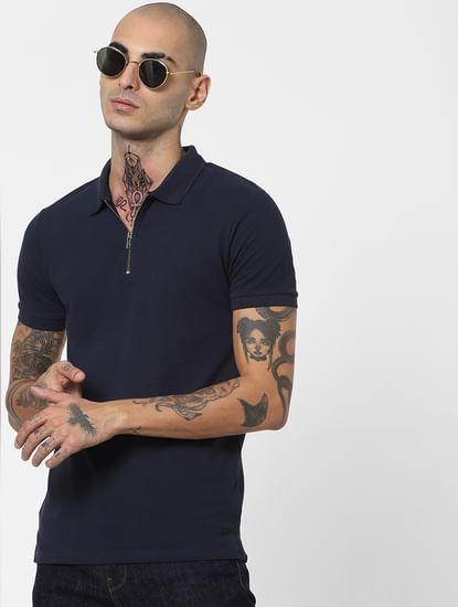 Navy Blue Polo Neck T-shirt