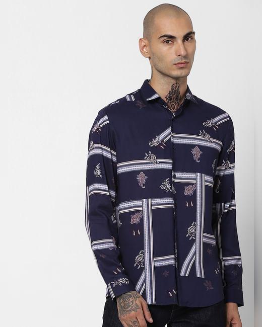 Indigo Blue Paisley Print Full Sleeves Shirt