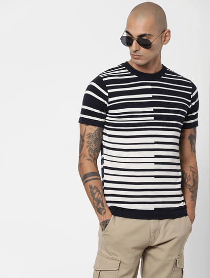 Blue Asymmetrical Striped Crew Neck T-shirt