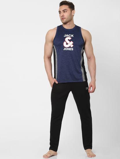 Navy Blue Logo Print Vest