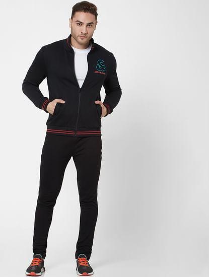 Black Logo Print Zip Up Sweatshirt