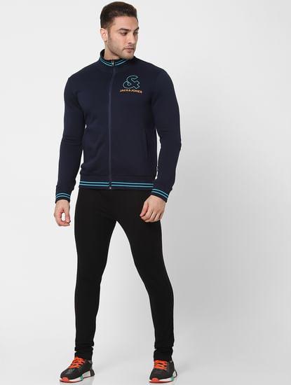 Navy Blue Logo Print Zip Up Sweatshirt