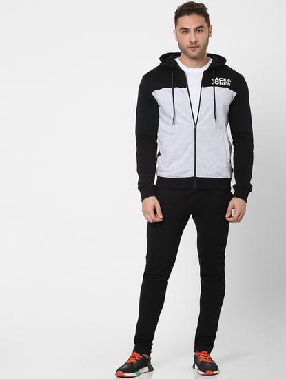 Grey Colourblocked Hooded Sweatshirt