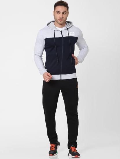 Navy Blue Colourblocked Hooded Sweatshirt
