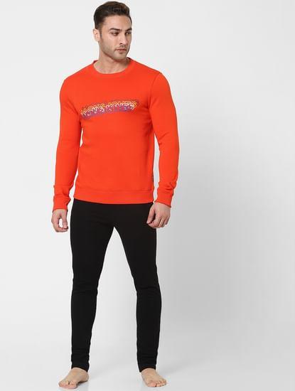 Orange Logo Print Sweatshirt