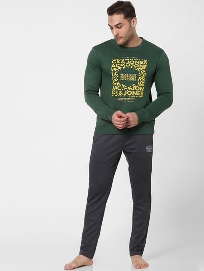 Green Logo Print Sweatshirt