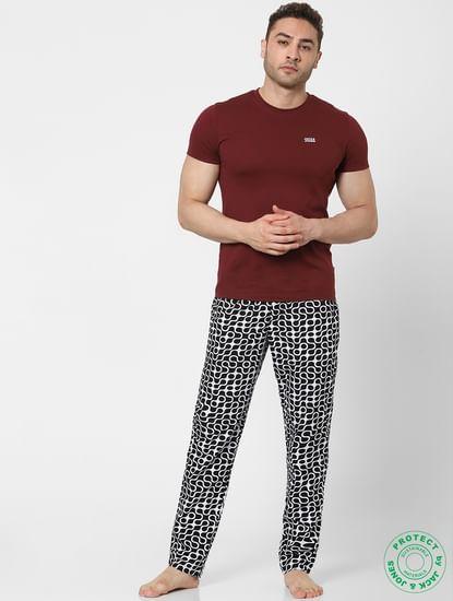 Black & White Mid Rise Abstract  Pyjamas