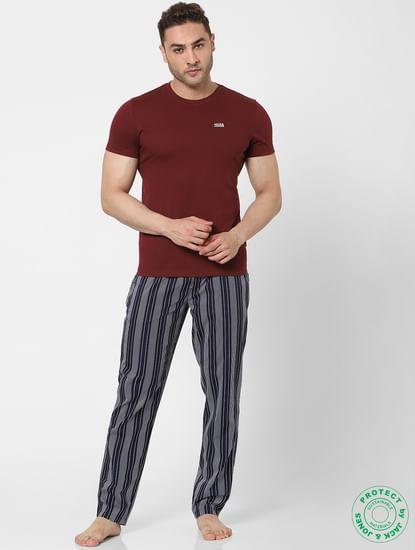 Blue Mid Rise Striped Pyjamas
