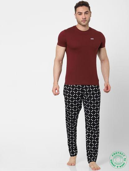 Black Mid Rise Printed Pyjamas