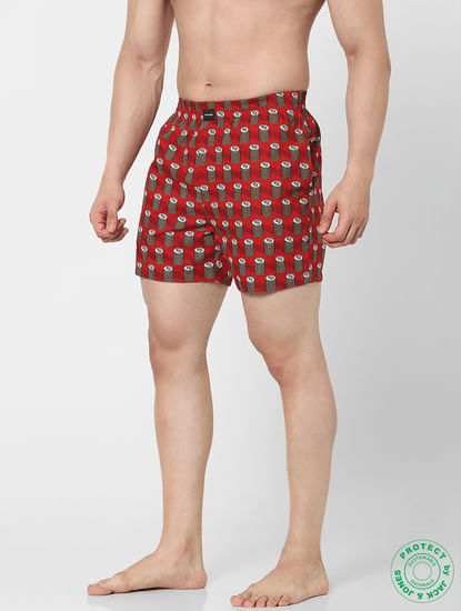 Red Dollar Print Boxers