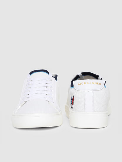 White Knit Lace-Up Sneakers