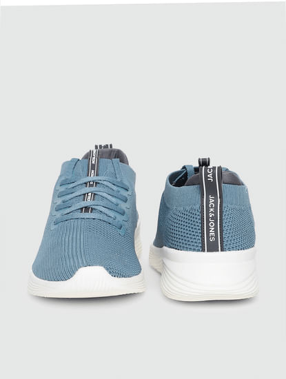 Blue Stretch Knit Sneakers