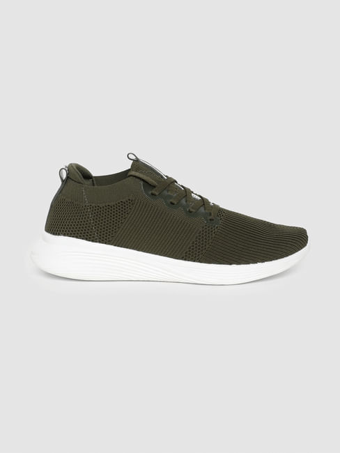 Green Stretch Knit Sneakers
