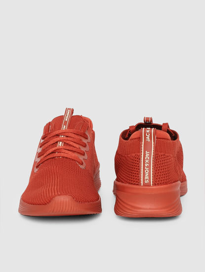 Orange Stretch Knit Sneakers