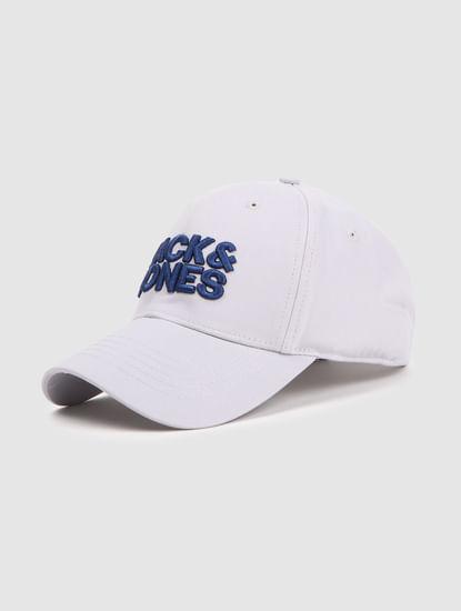 Grey Logo Print Baseball Cap