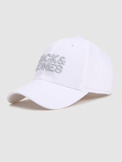 White Logo Print Baseball Cap