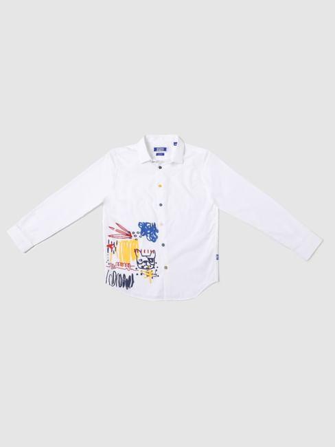 BOYS White Graphic Print Full Sleeves Shirt