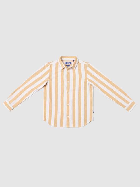 BOYS Orange Striped Full Sleeves Shirt
