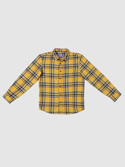 BOYS Yellow Check Full Sleeves Shirt