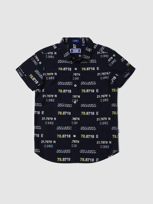 BOYS Dark Navy Blue Printed Half Sleeves Shirt