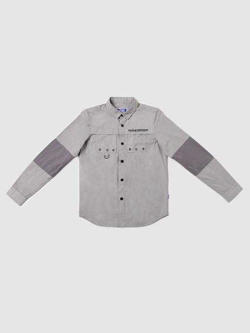 BOYS Grey Colourblocked Full Sleeves Shirt