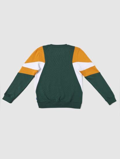 BOYS Green Colourblocked Sweatshirt