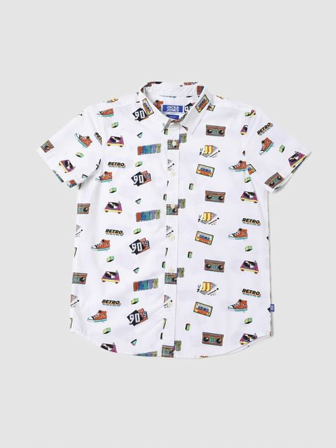 BOYS White 90's Theme Print Half Sleeves Shirt