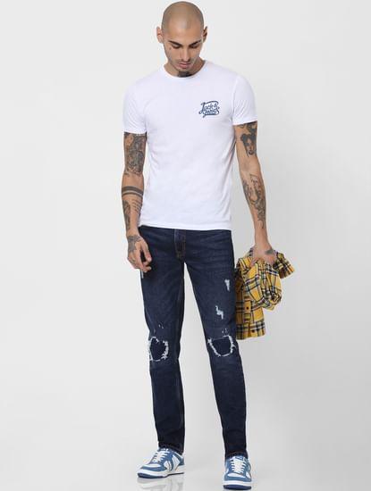 Dark Blue Low Rise Ripped Glenn Slim Jeans