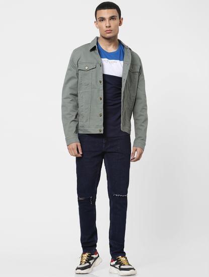 Blue Low Rise Glenn Ripped Slim Jeans