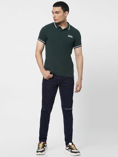 Green Contrast Tipping Polo T-shirt
