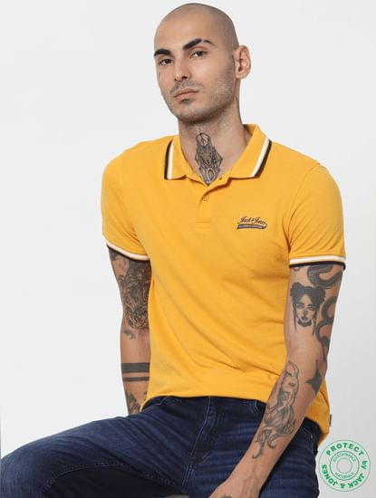 Yellow Contrast Tipping Polo T-shirt