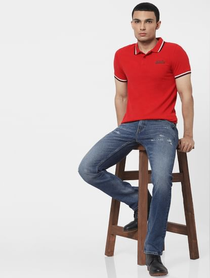 Red Contrast Tipping Polo T-shirt